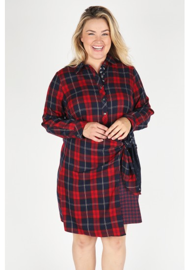 Plaid Shirt Dress w/ Wrap Front Detail