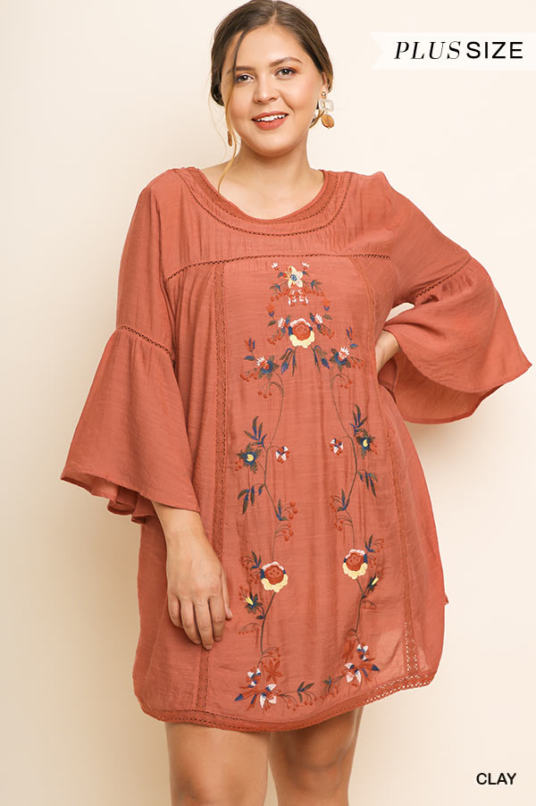 Floral Embroidered Dress with Bell Sleeves