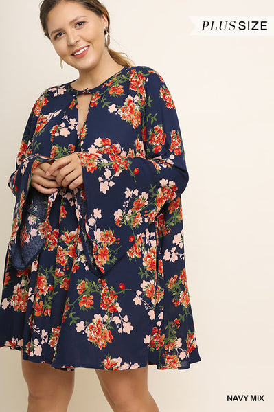 Floral Dress with Bell Sleeves