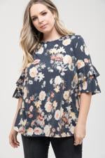 FLORAL RUFFLE SLEEVE TOP WITH TIE BACK -NAVY  - CURVY