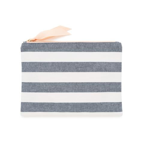 Chambray Stripe Fabric Pouch