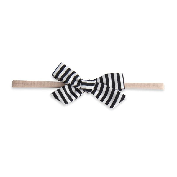 Baby Bling Black Stripe Cotton Print Bow