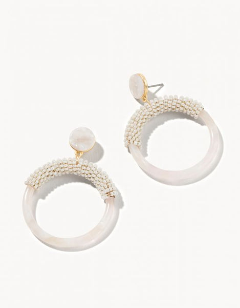 Beaded Circle Earrings - Cream