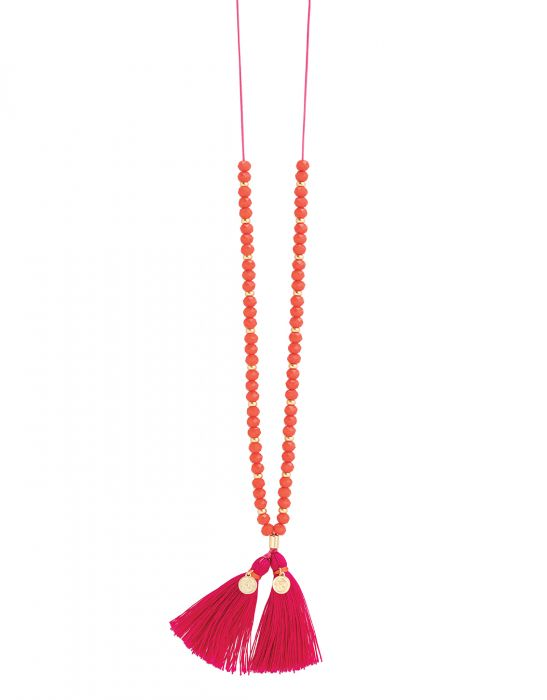 Beaded Strand Necklace - Coral