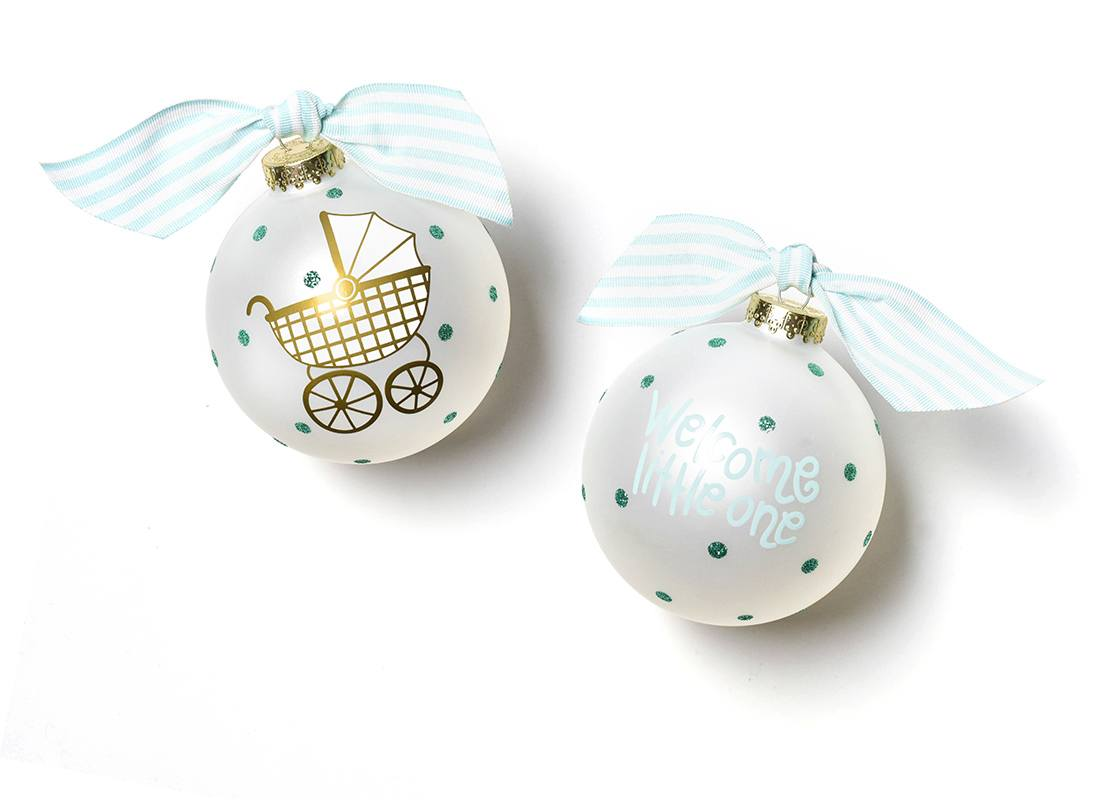 Welcome Little One Carriage Ornament - Boy