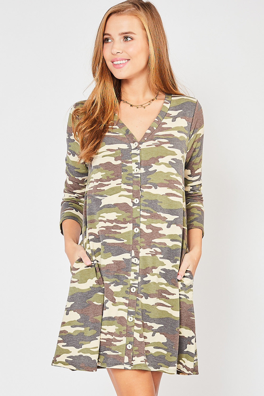 Camo Button Dress / Cardigan
