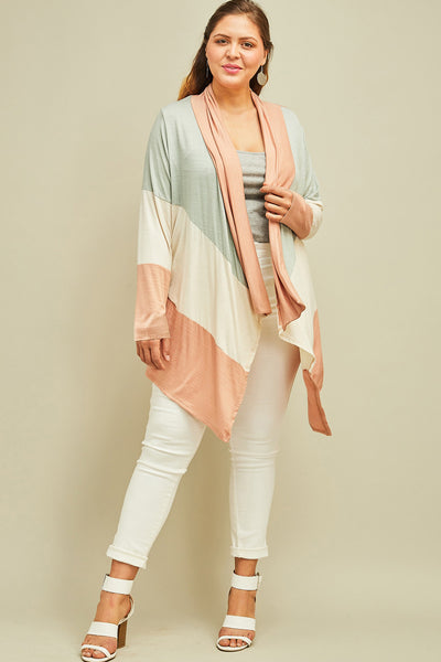 Color Block Draped Cardigan