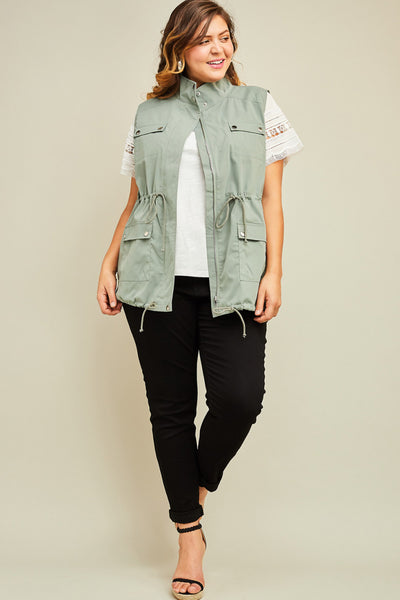 Cargo Zip Up Vest - Army Green