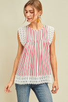 Red Stripe Sleeveless Top with Lace Detail