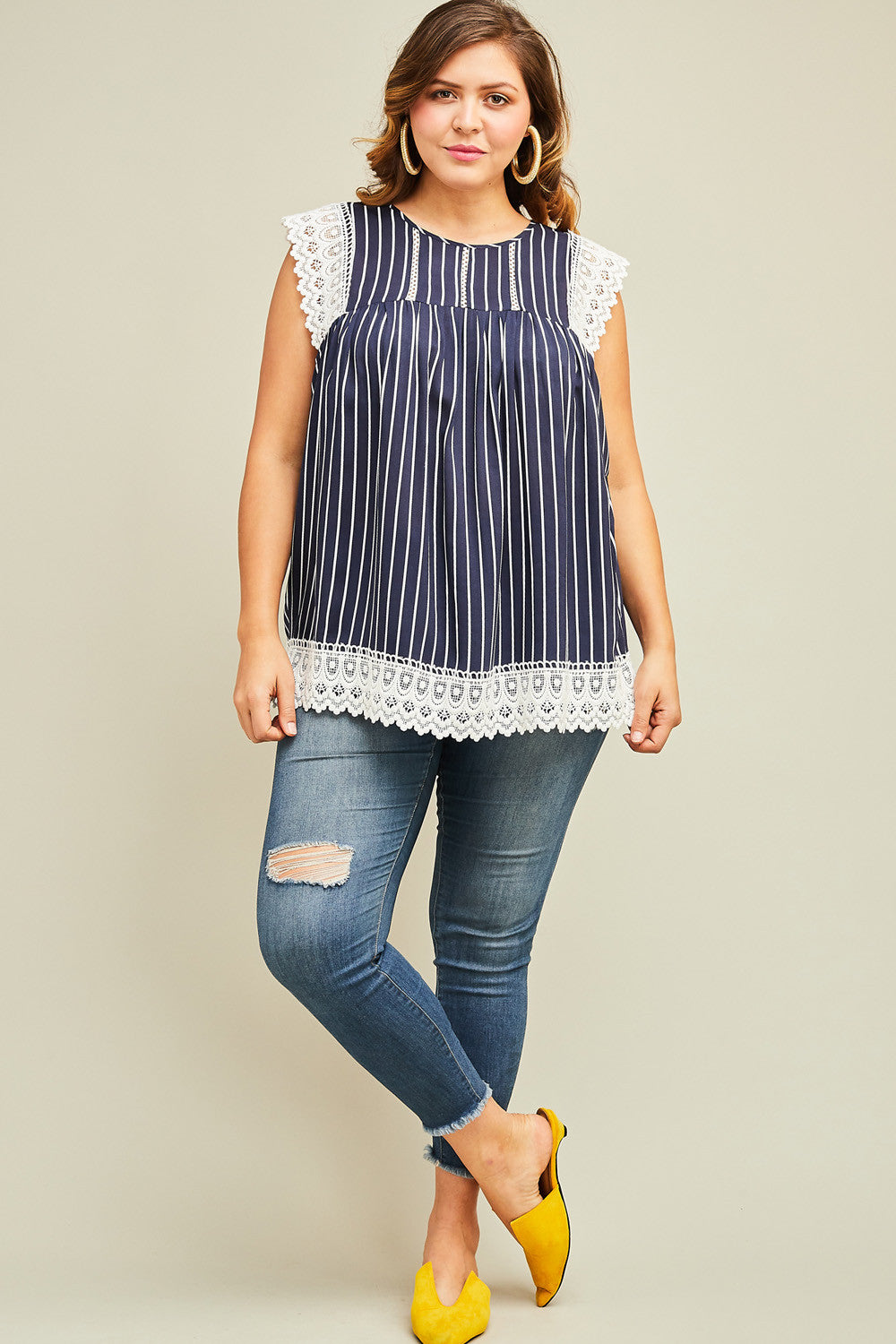 Navy Stripe Sleeveless Top with Lace Detail