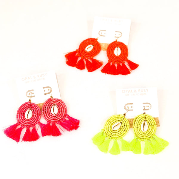 Neon Circle Bead Earrings