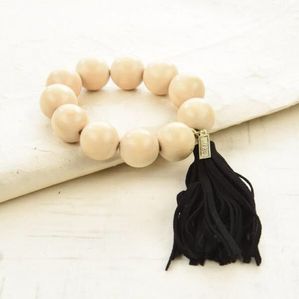 Tassel Bracelet with Natural Wood Beads