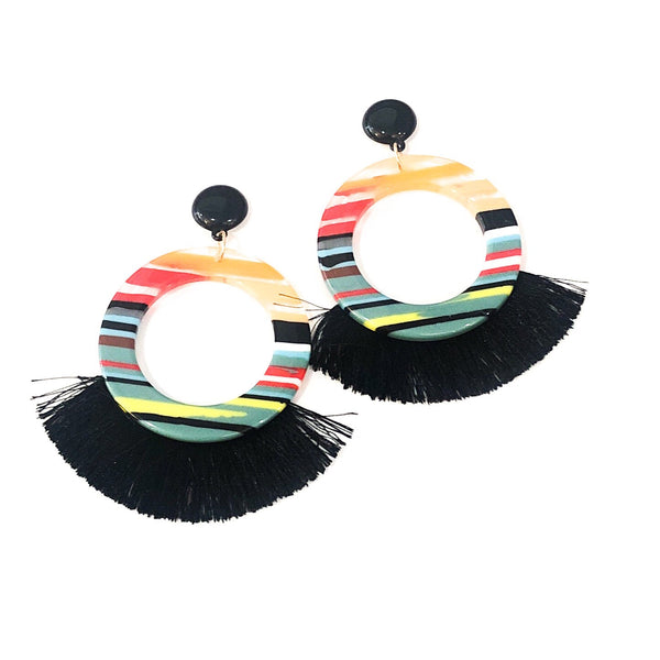 Stripe Acrylic Circle Tassel - Black