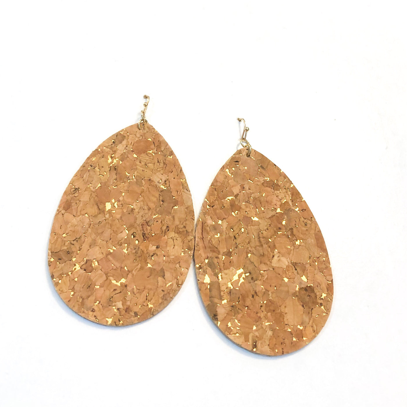 Oval Cork Earrings with Flecks of Gold