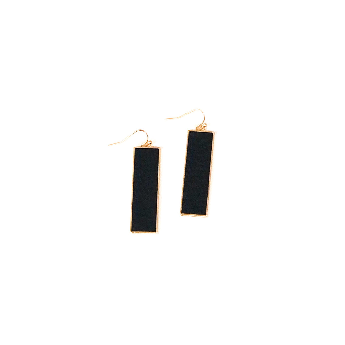 Black Leather Rectangle Earrings