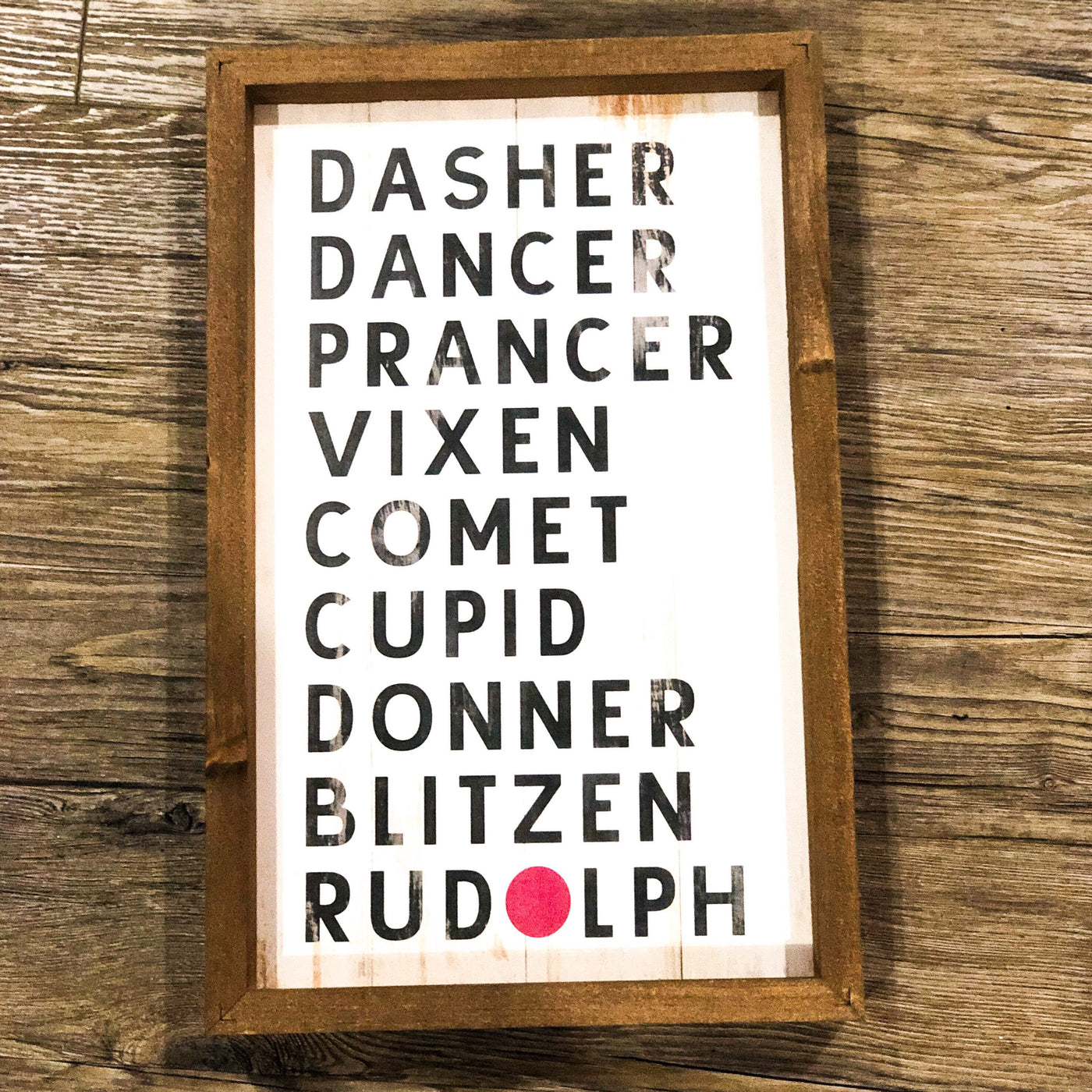 Santa's Reindeer Names Sign