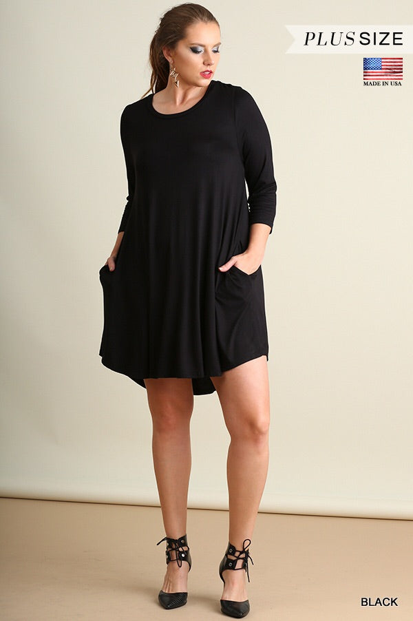 Umgee Soft Long Sleeve Tunic with Pockets - Curvy