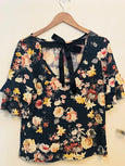 Floral Ruffle Sleeve Top with Tie in Back - Navy