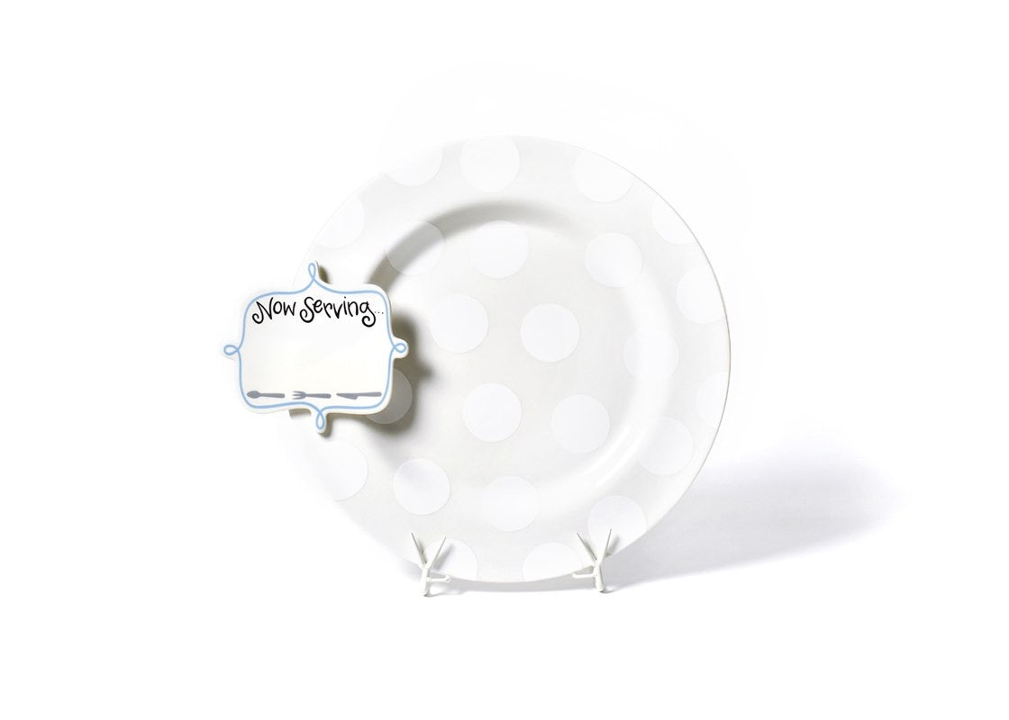 White Dot Big Entertaining Platter with Now Serving Big Attachment