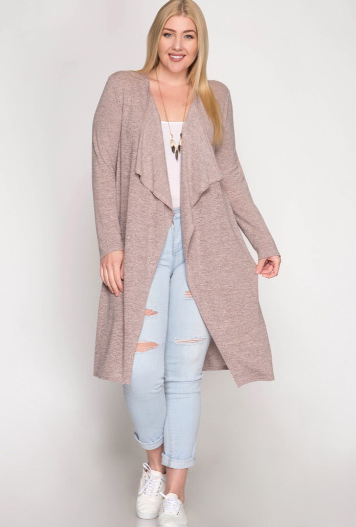 Long Sleeve Open Duster - Curve