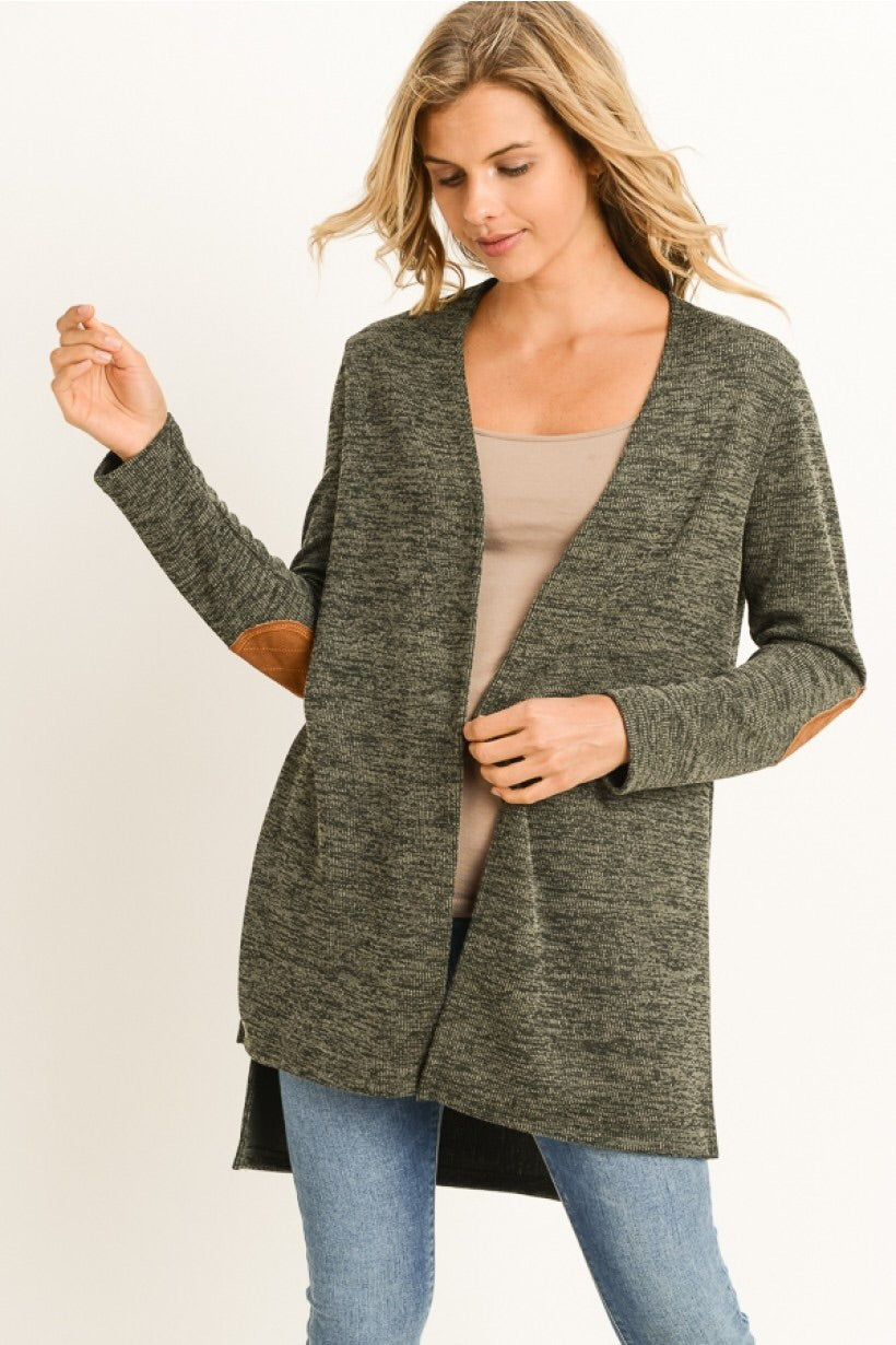 Knit Cardigan with Suede Elbow Patch