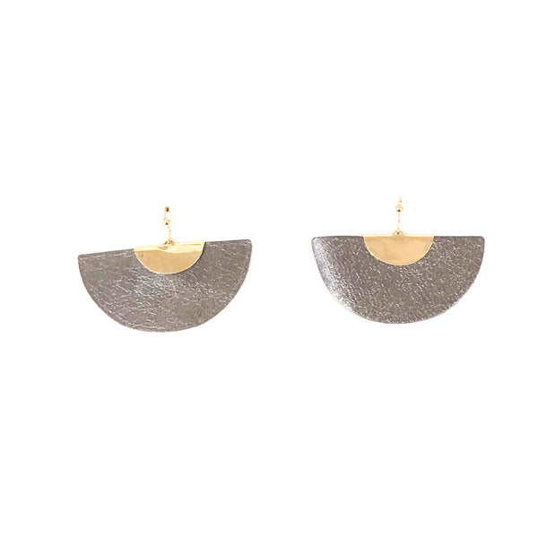 Half Moon Leather Earrings - Gunmetal