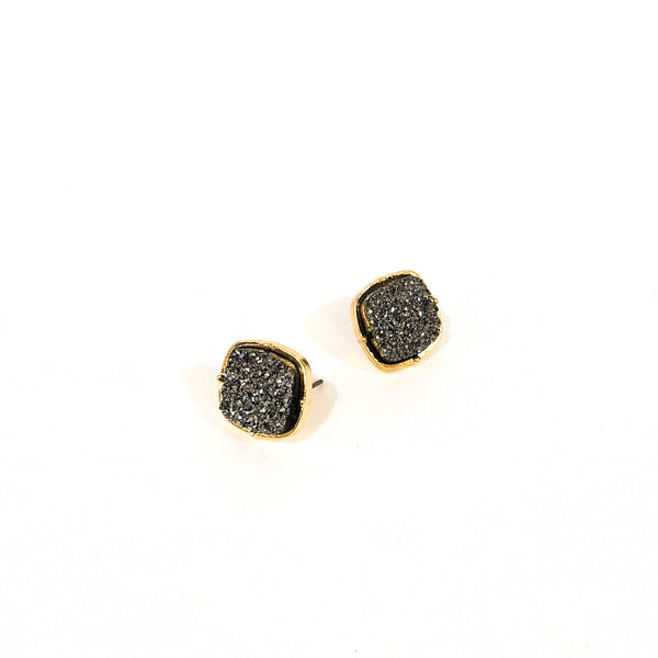 Faux Druzy Square Earrings - Hematite