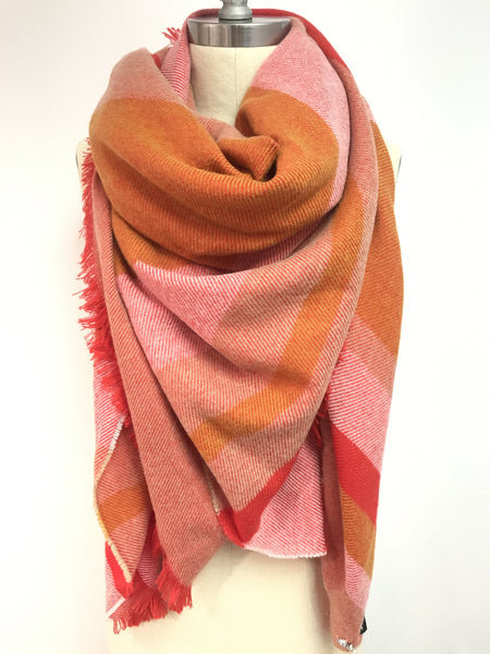 Multi Colored Striped Square Scarf