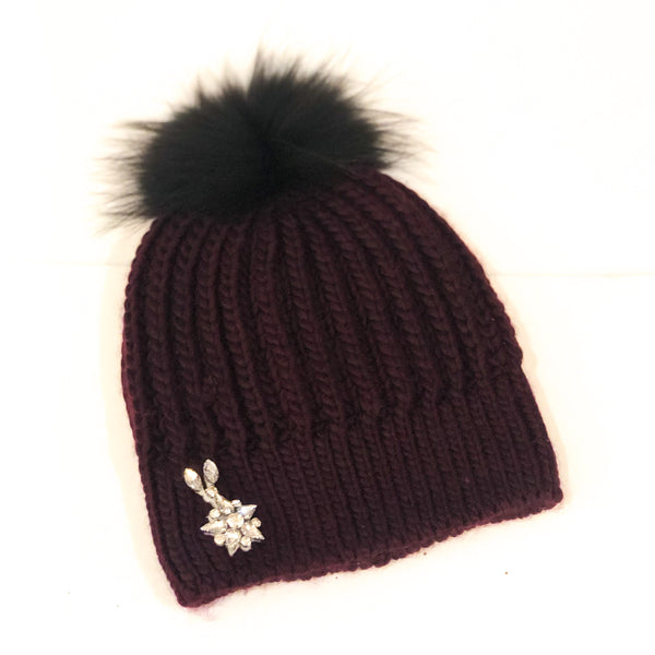 Rhinestone Hat with Pom