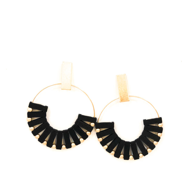 Wood Hoop Earrings - Black