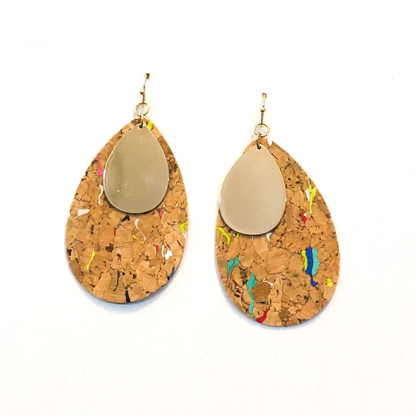 Multi-Color Cork & Gold Earrings