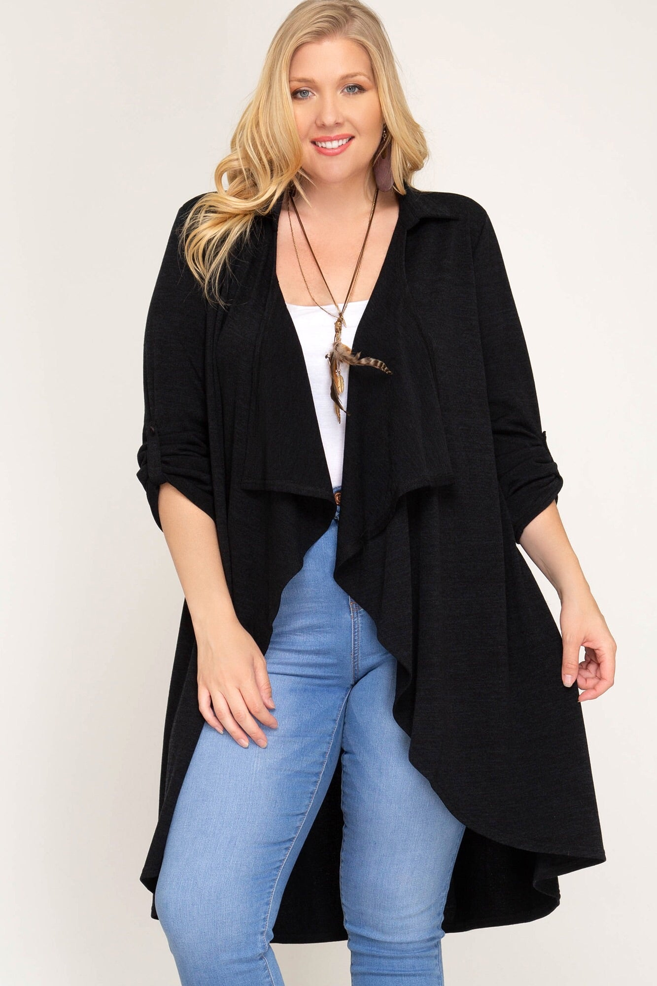 Long Knit Cardigan with Roll Up Sleeves