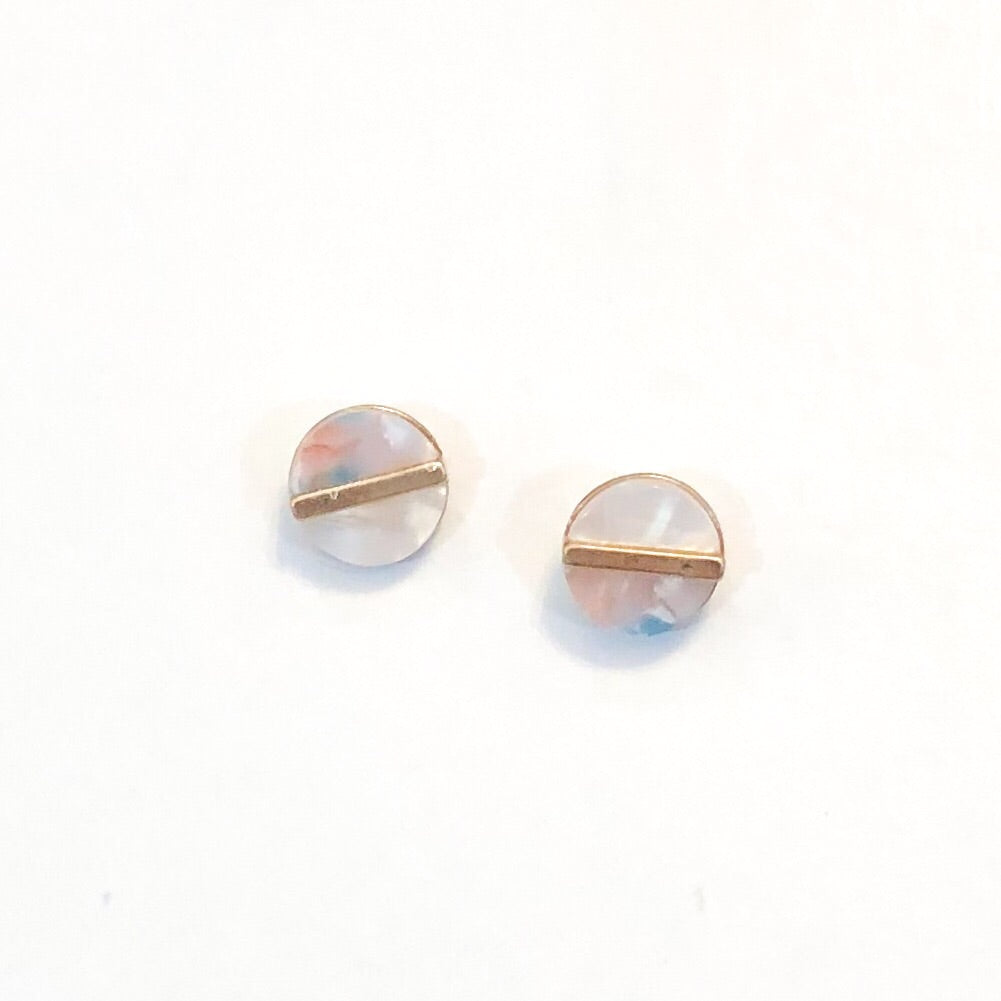 Resin & Gold Circle Stud Earrings
