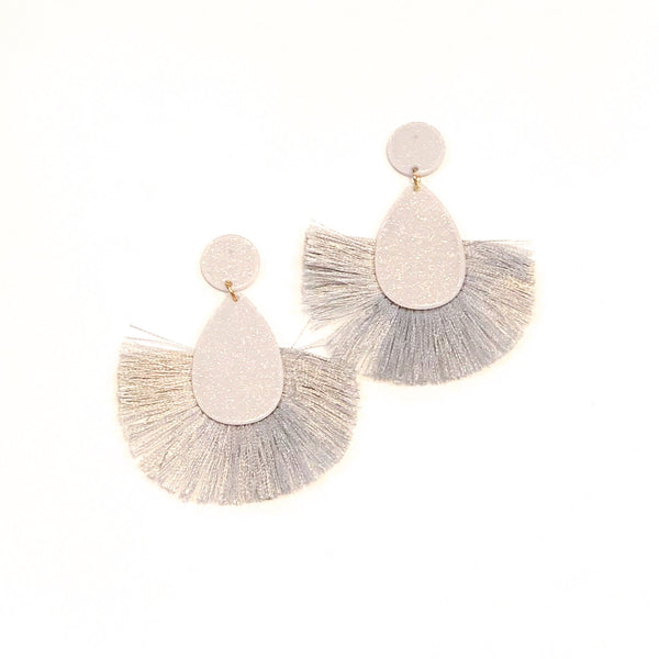 Glitter Teardrop Fan Tassel Earrings