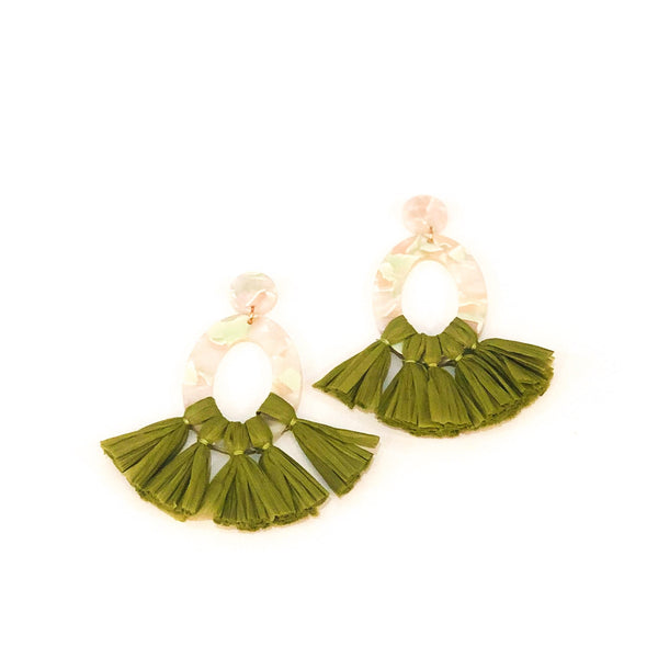Oval Resin & Raffia Tassel Earrings - Olive