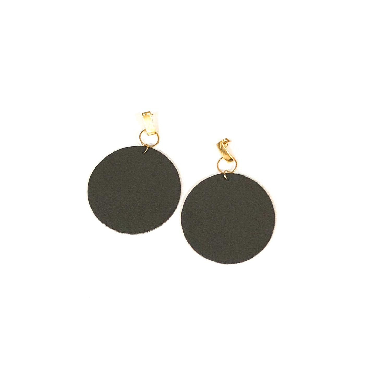 Leather Circle Earrings with Gold Stud