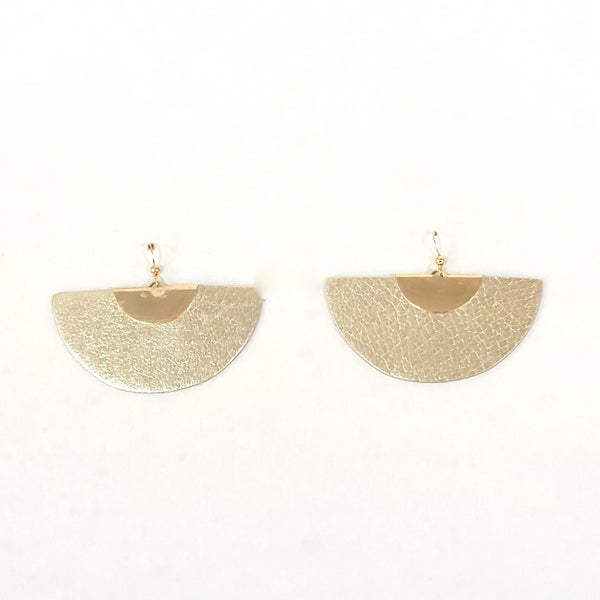 Half Moon Leather Earrings - Gold