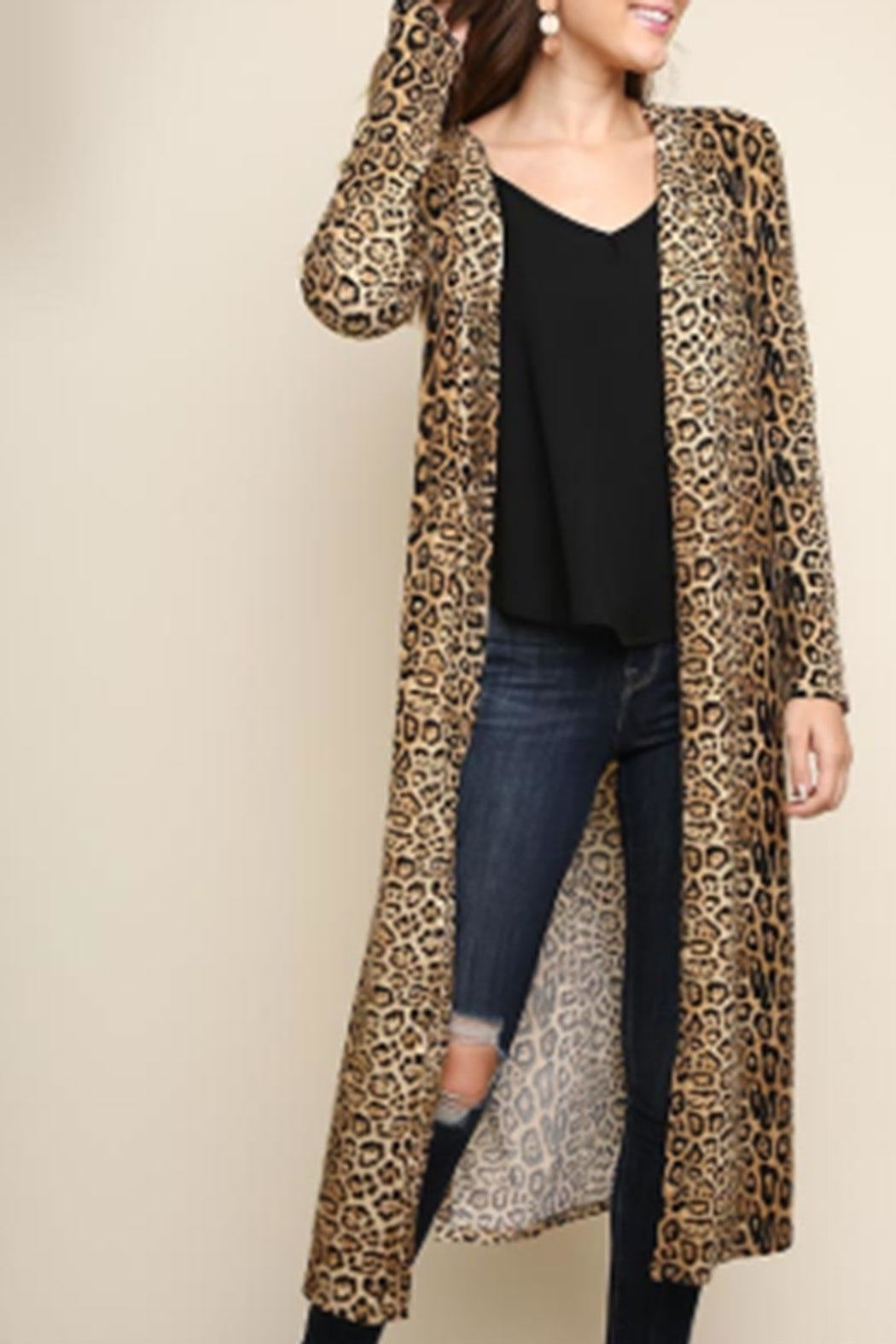 Umgee Jaguar Print Long Cardigan