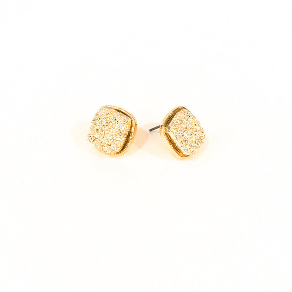 Faux Druzy Square Earrings - Rose