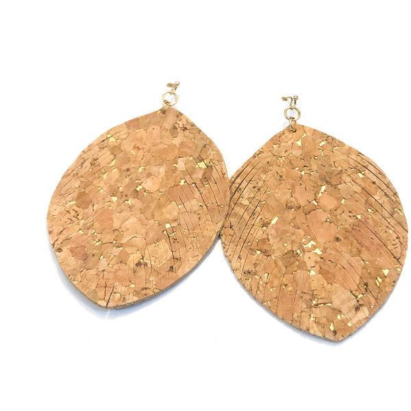 Feathered Leaf Cork Earrings with Flecks of Gold