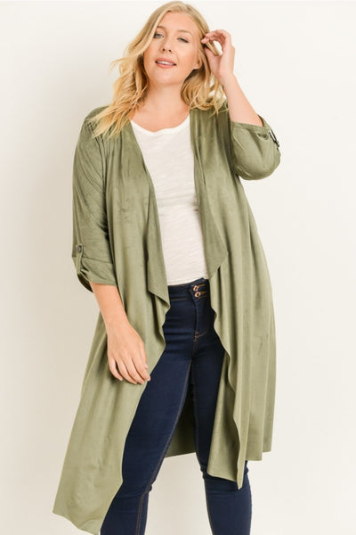 Faux Suede Cardigan with Roll Tab Sleeve