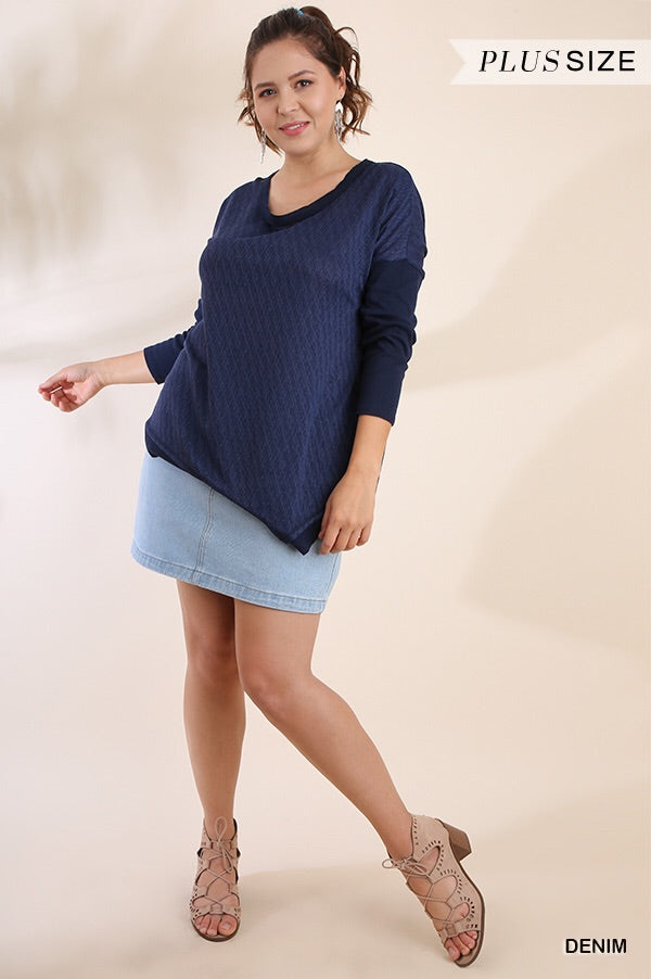 Umgee Asymmetrical Knit Top - Curvy