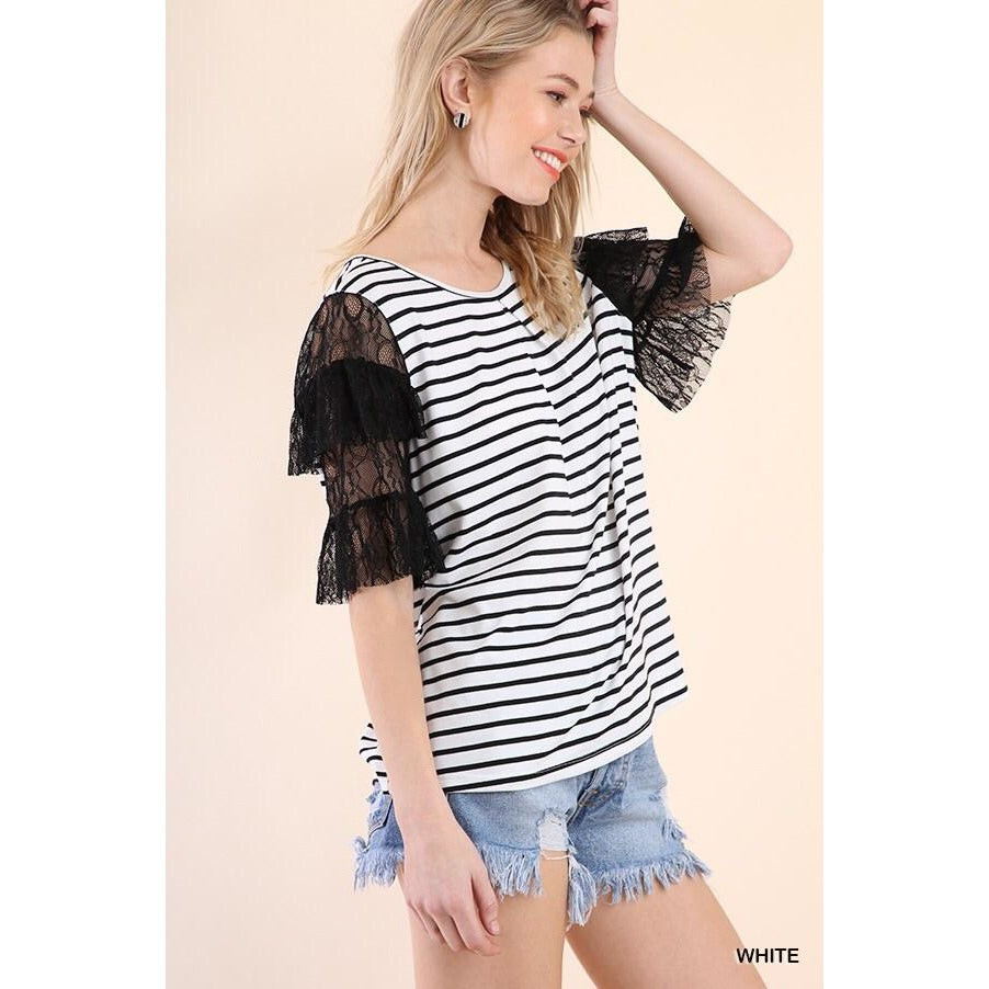 Black & White Striped Top with Layered Lace Bell Sleeves - Curvy