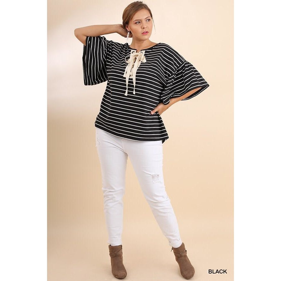 Striped Bell Sleeve Top with Lace Up Drawstring Neckline and Grommet Detail