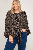 Woven Leopard Print Top with Front Tie & Bell Sleeves