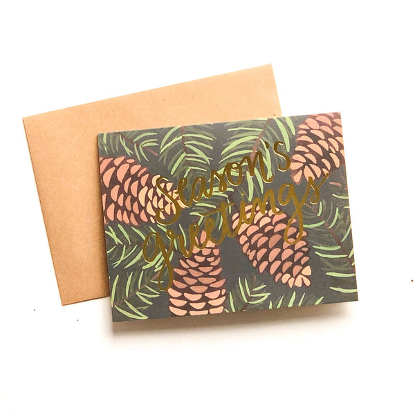 Season's Greetings Pinecones Greeting Card Set