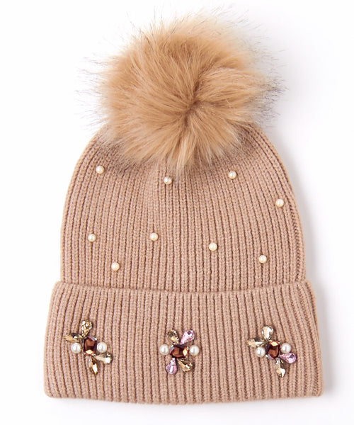 Embellished Beanie w/ Interchangeable Pom