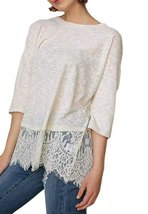 Umgee Knit Top w/ Lace - Curvy