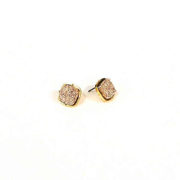 Faux Druzy Square Earrings - Gold