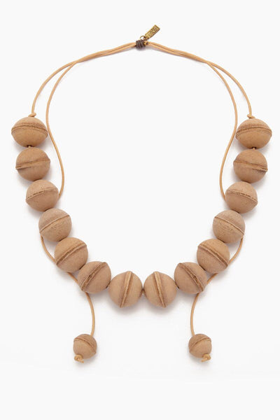 Leather Beaded Necklace - Natural